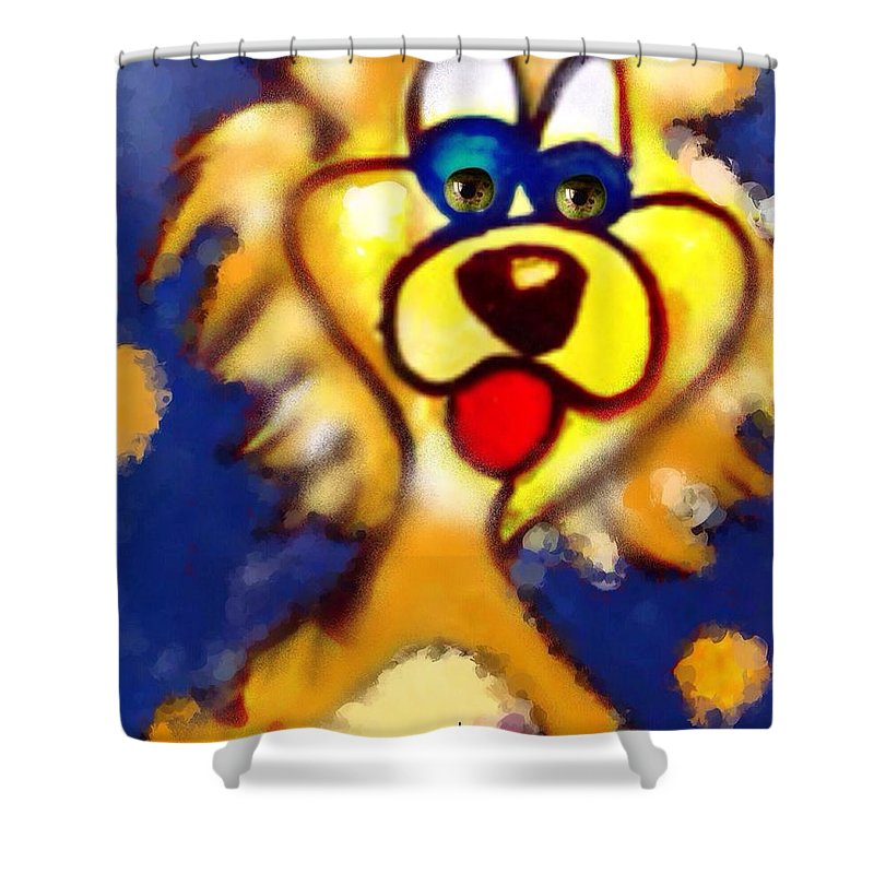 Leo Shower Curtain featuring the digital art Leo by Pikotine Art