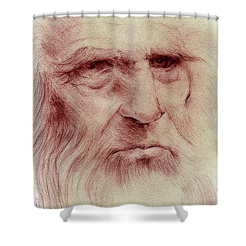 Leonardo Of Vinci Shower Curtain featuring the drawing Leonardo by John F Willis