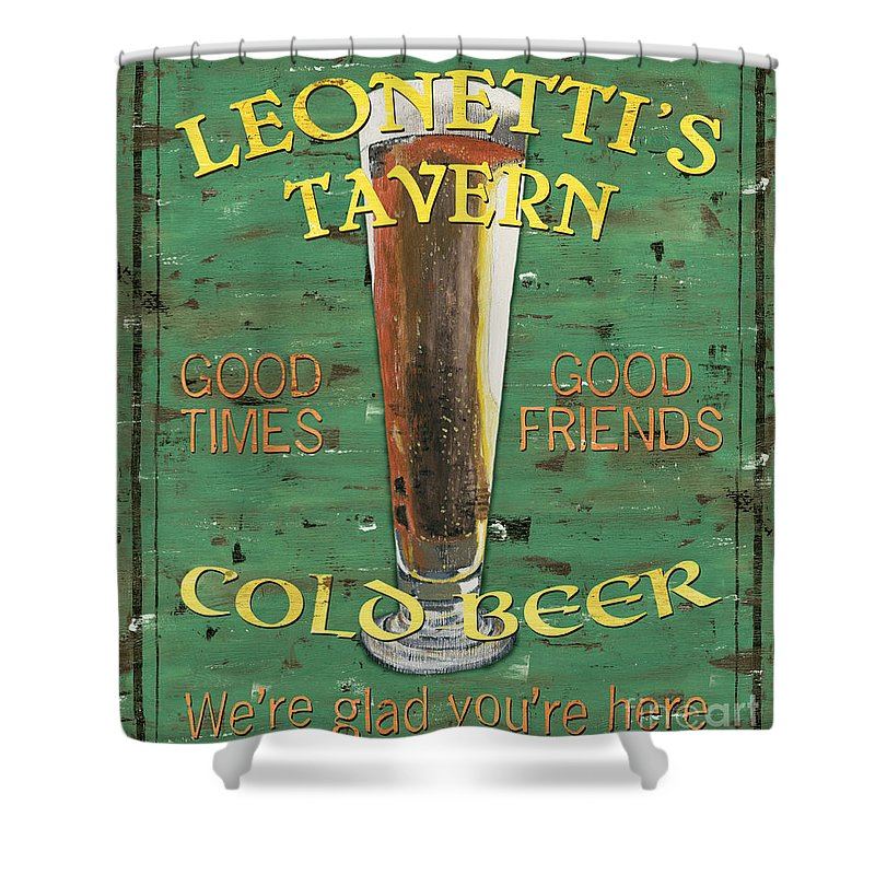 Tavern Shower Curtain featuring the painting Leonetti's Tavern by Debbie DeWitt