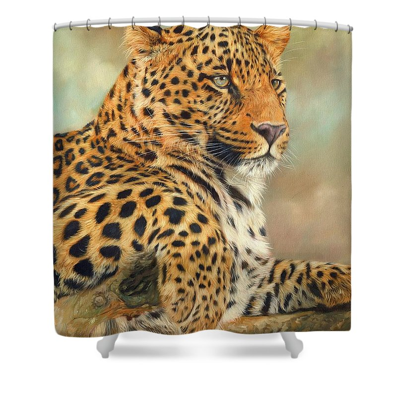 Leopard Shower Curtain Featuring The Painting By David Stribbling