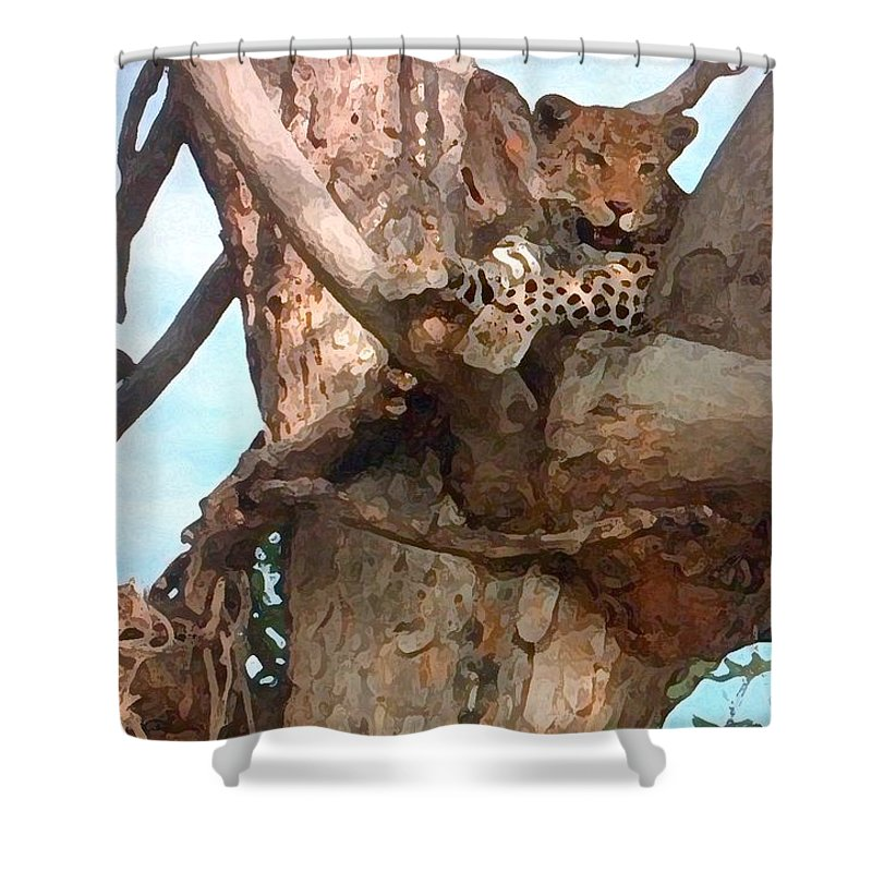 Africa Shower Curtain featuring the painting Leopard Up A Tree by George Pedro