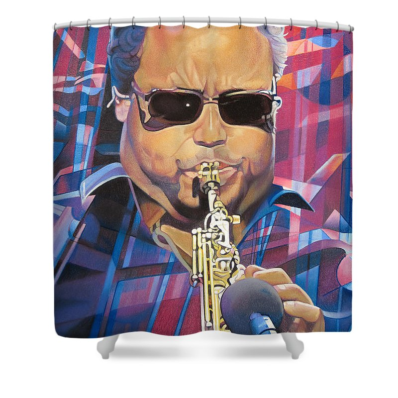 Leroi Moore Shower Curtain featuring the drawing Leroi Moore And 2007 Lights by Joshua Morton
