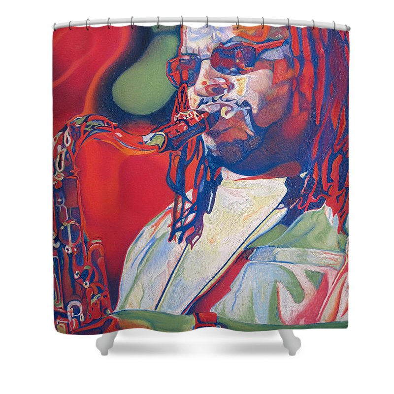 Leroi Moore Shower Curtain featuring the drawing Leroi Moore Colorful Full Band Series by Joshua Morton