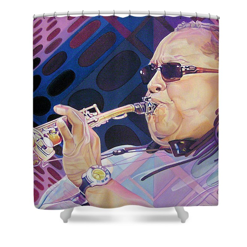 Leroi Moore Shower Curtain featuring the drawing Leroi Moore by Joshua Morton