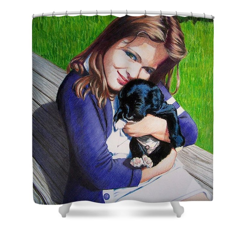Girl Shower Curtain featuring the mixed media Leslie And Sergeant by Constance Drescher