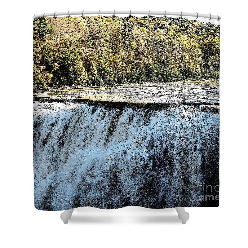 Letchworth State Park Shower Curtain featuring the photograph Letchworth State Park Middle Falls In Autumn by Rose Santuci-Sofranko
