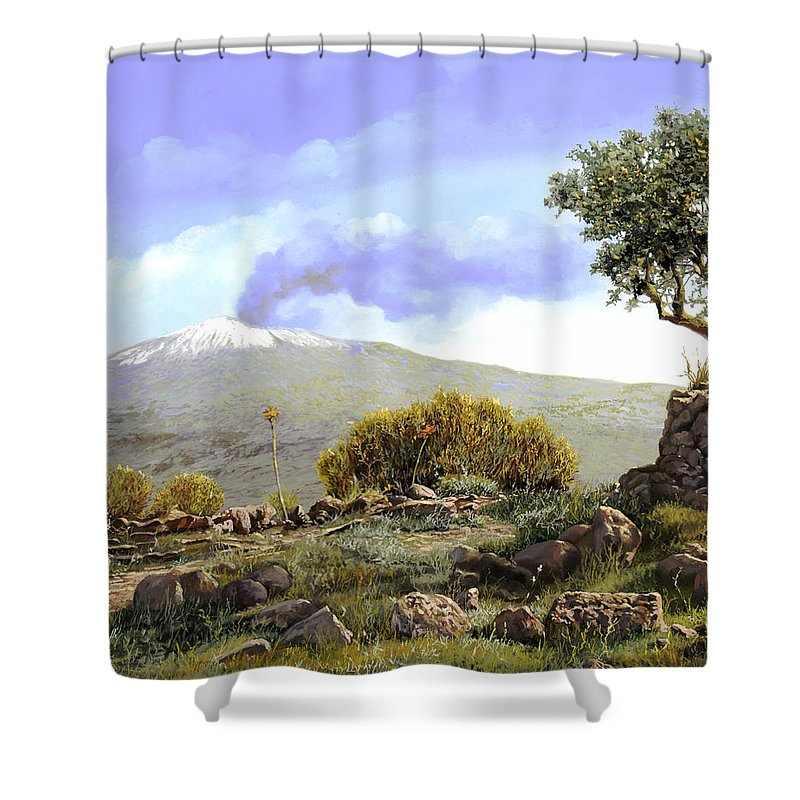 Volcano Shower Curtain featuring the painting l'Etna by Guido Borelli
