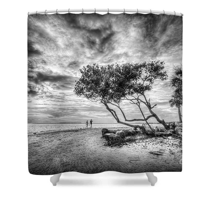 Let's Stay Here Forever Shower Curtain featuring the photograph Let's Stay Here Forever Bw by Marvin Spates
