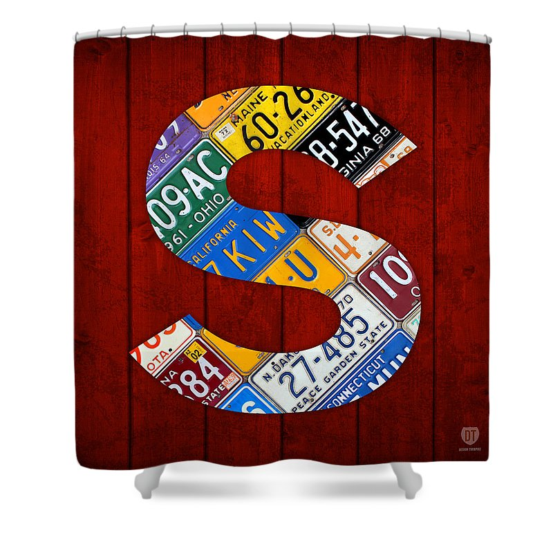Letter Shower Curtain Featuring The Mixed Media S Alphabet Vintage License Plate Art By Design