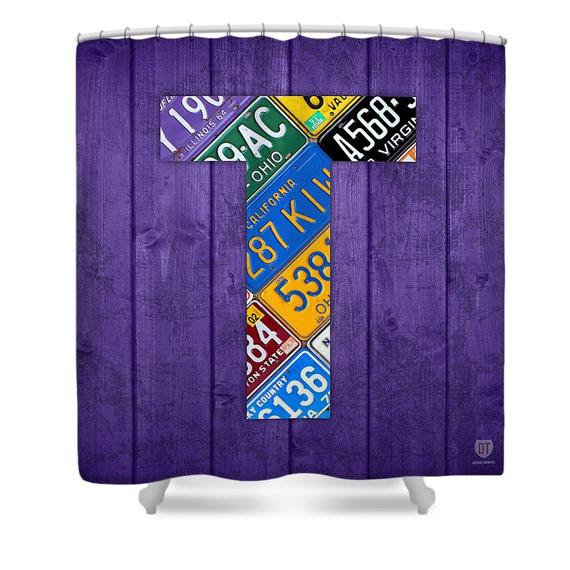 Letter Shower Curtain Featuring The Mixed Media T Alphabet Vintage License Plate Art By Design