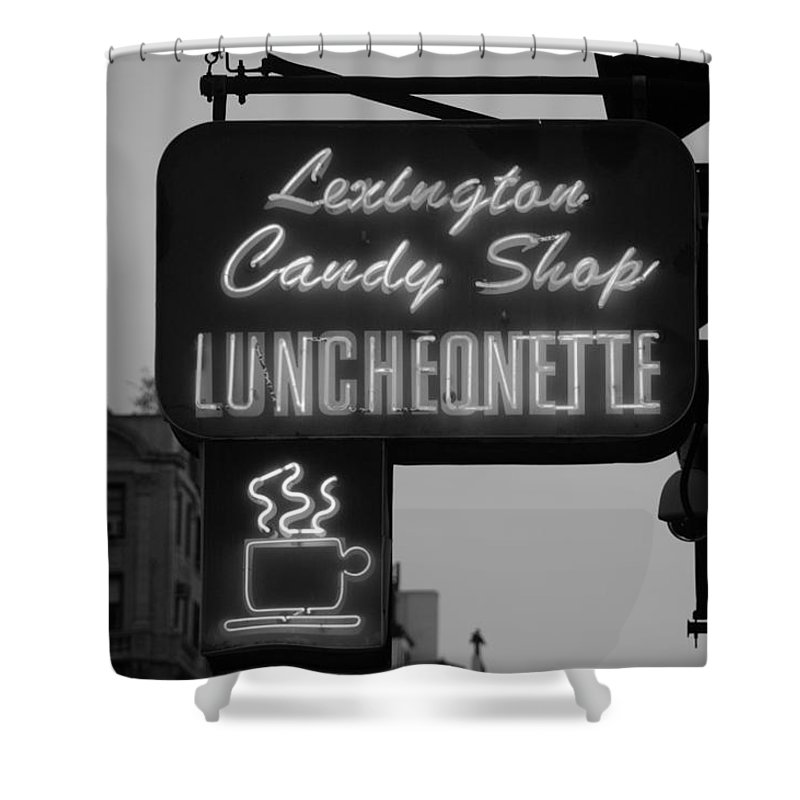 Scenic Shower Curtain featuring the photograph Lexington Candy Shop In Black And White by Rob Hans