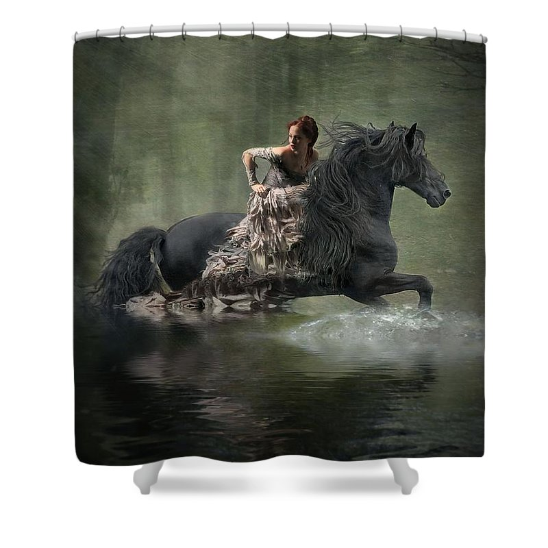 Girl Fleeing On Horse Shower Curtain featuring the photograph Liberated by Fran J Scott