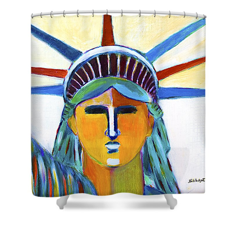 Nyc Shower Curtain featuring the painting Liberty In Colors by Habib Ayat