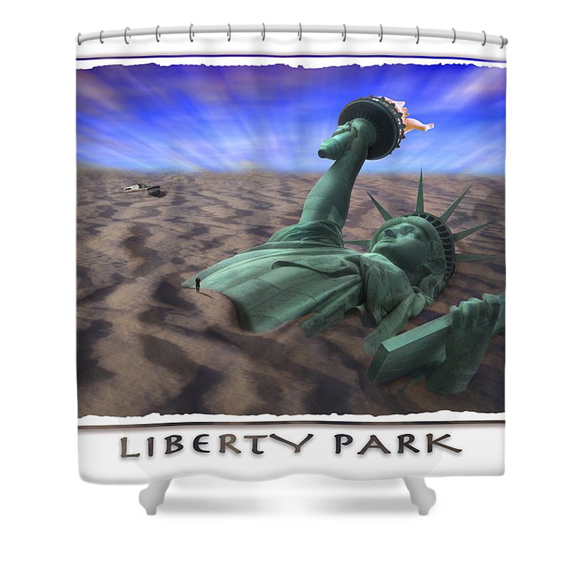 Pop Art Shower Curtain featuring the photograph Liberty Park by Mike McGlothlen