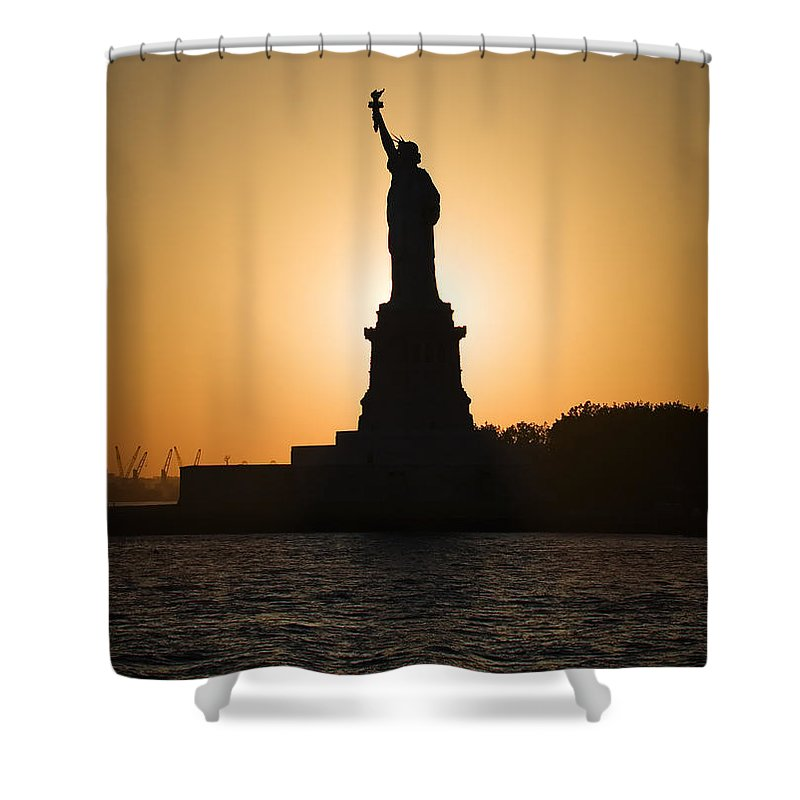 Statue Of Liberty Shower Curtain featuring the photograph Liberty Sunset by Dave Bowman