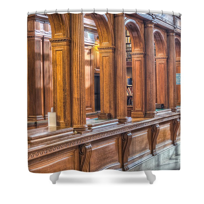 Clarence Holmes Shower Curtain featuring the photograph Library Book Return I by Clarence Holmes
