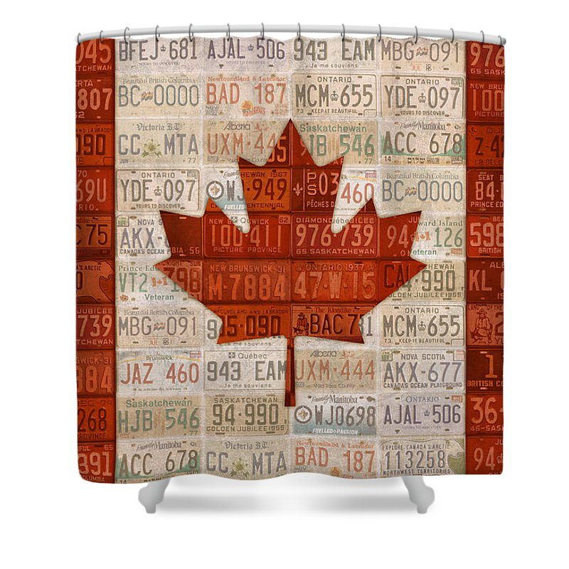 License Plate Shower Curtain Featuring The Mixed Media Art Flag Of Canada By Design