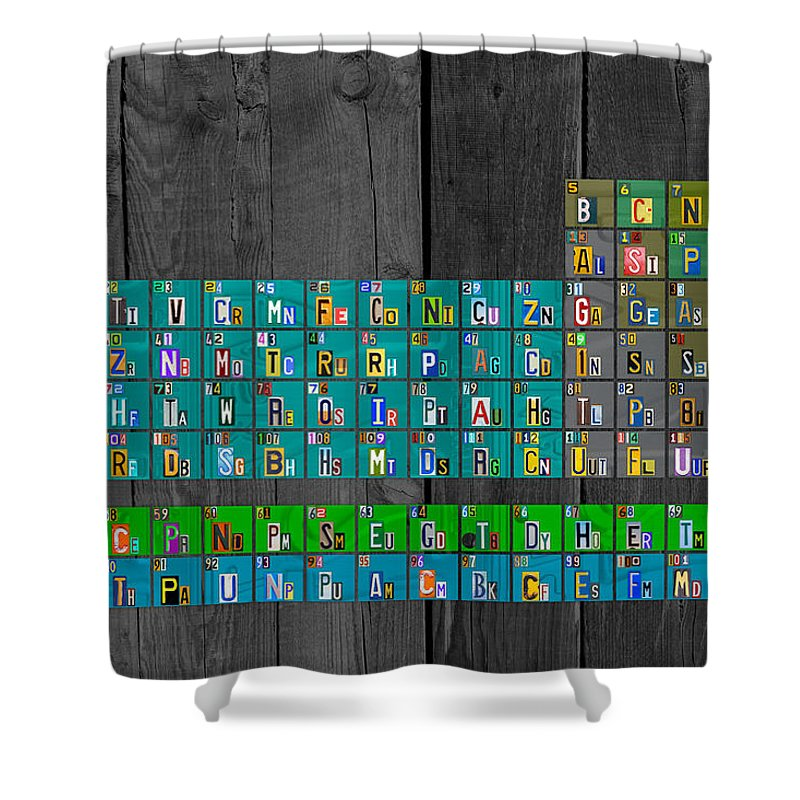 License plate art recycled periodic table of the elements by design license shower curtain featuring the mixed media license plate art recycled periodic table of the elements urtaz Images