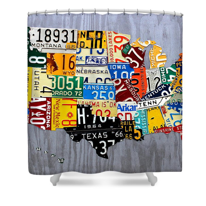 License Plate Map Shower Curtain Featuring The Mixed Media Of United States