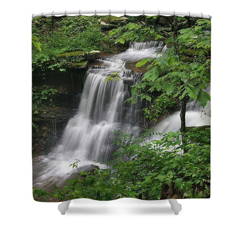 Tim Fitzharris Shower Curtain featuring the photograph Lichen Falls Ozark National Forest by Tim Fitzharris