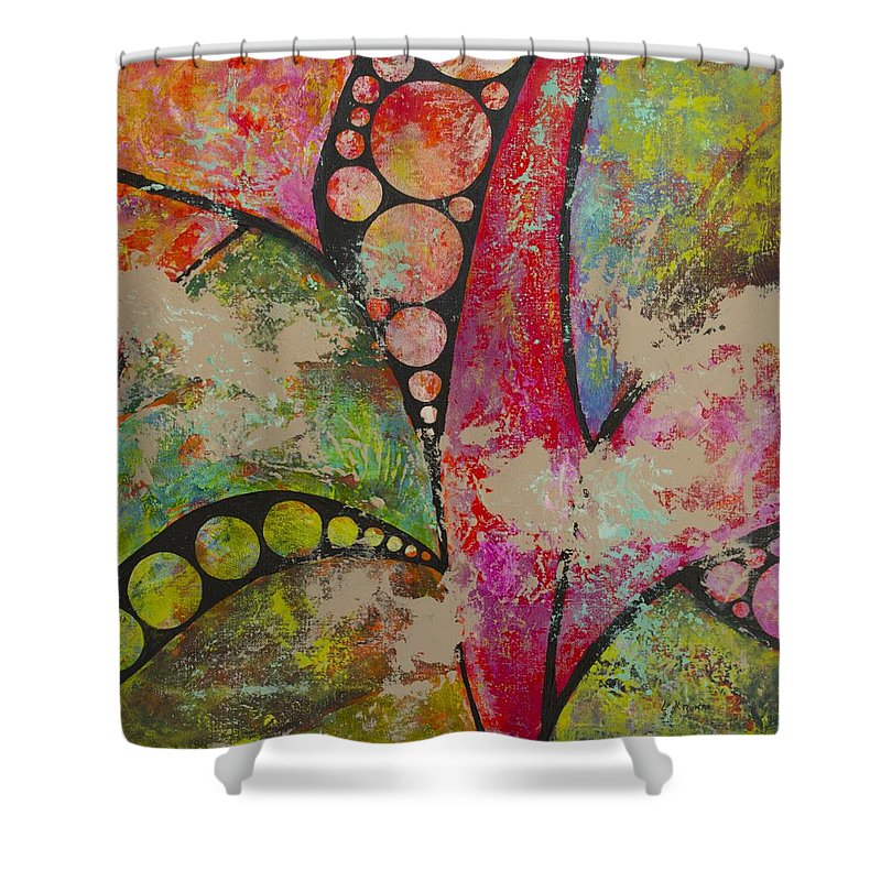 Abstract Shower Curtain featuring the painting Life Force by Linda Krukar