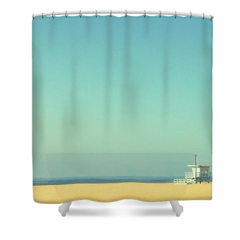 Tranquility Shower Curtain featuring the photograph Life Guard Tower by Denise Taylor