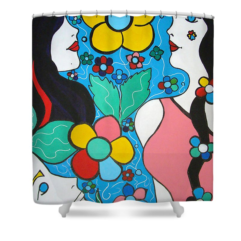 Pop-art Shower Curtain featuring the painting Life Is Beautiful by Silvana Abel