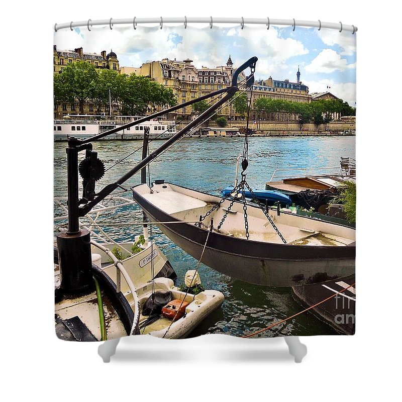 Abstract Shower Curtain featuring the photograph Life On The Seine by Lauren Leigh Hunter Fine Art Photography