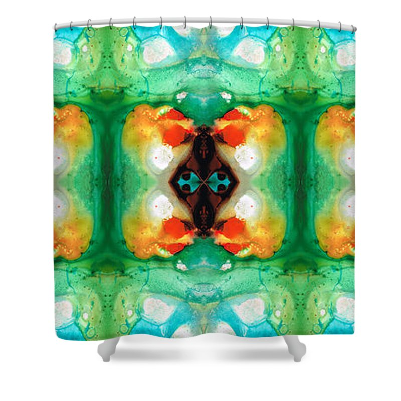 Green Shower Curtain featuring the painting Life Patterns 1 - Abstract Art By Sharon Cummings by Sharon Cummings