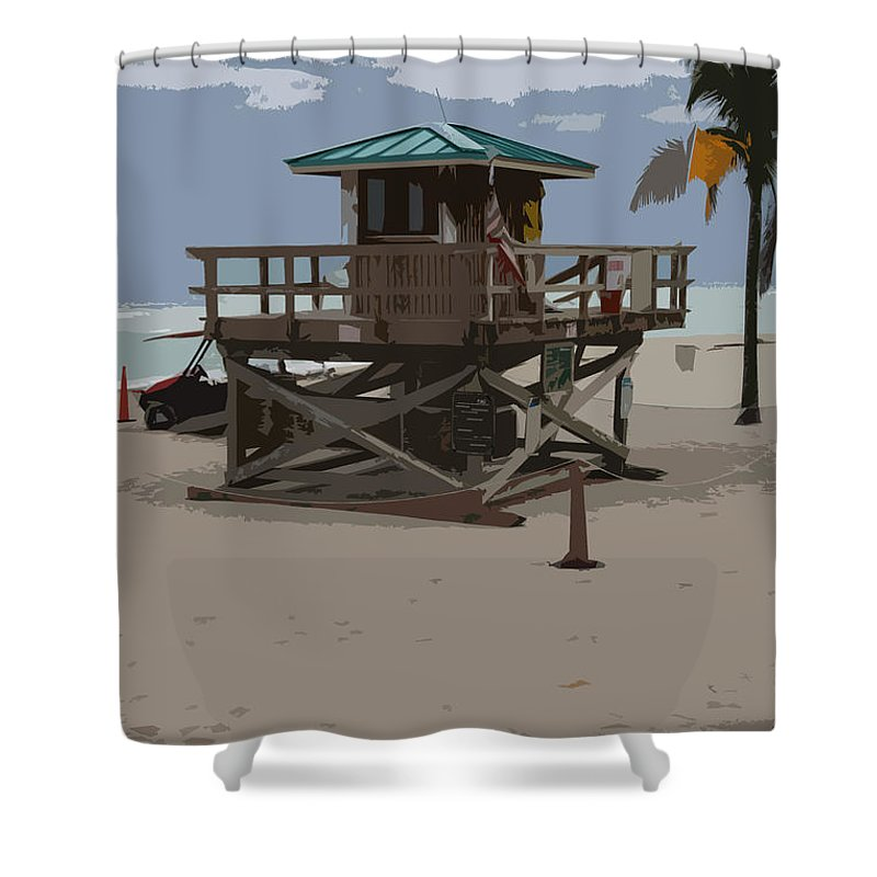 Lifeguard Station Shower Curtain featuring the photograph Lifeguard Station IIi Abstract by Christiane Schulze Art And Photography