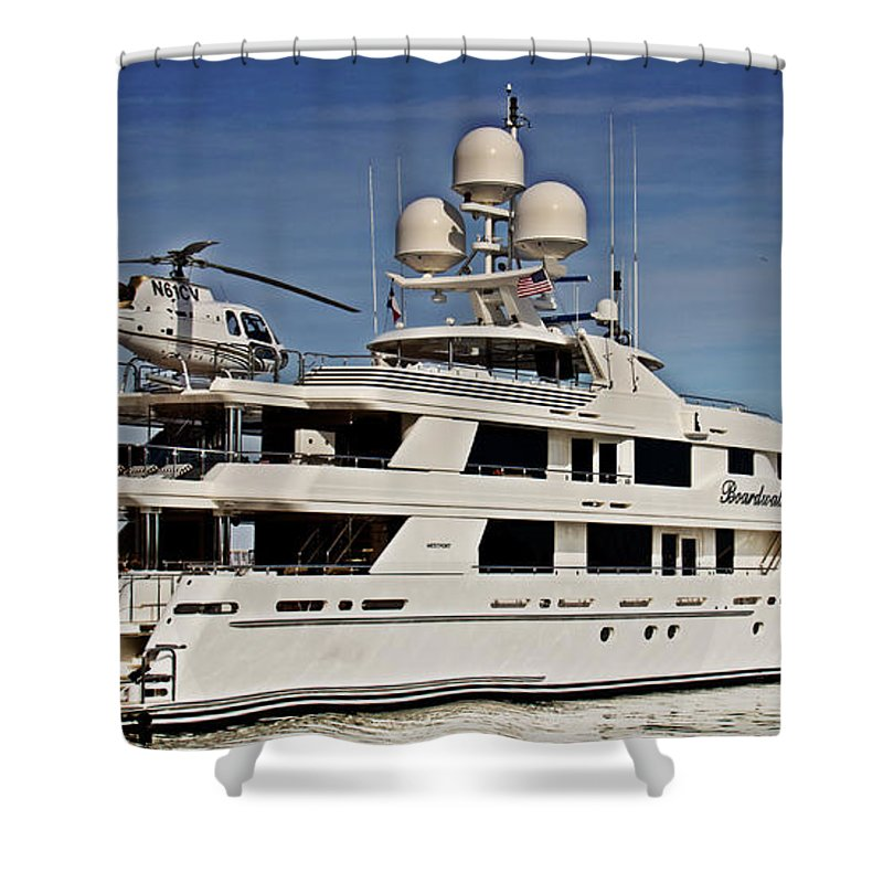Superyacht Shower Curtain featuring the photograph Lifestyle Of The Super Rich by Tom Gari Gallery-Three-Photography