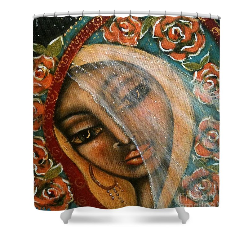 Contemporary Symbolism Shower Curtain featuring the painting Lifting The Veil by Maya Telford