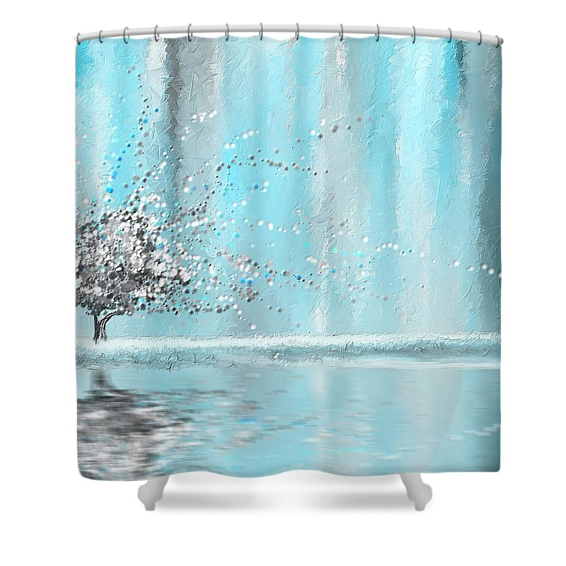 Blue Shower Curtain Featuring The Painting Light And Gray By Lourry Legarde