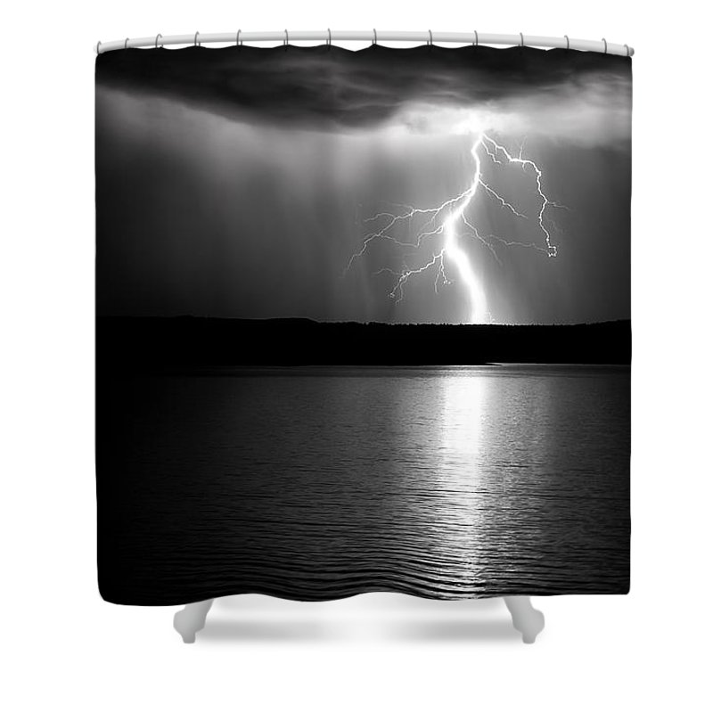 Water Night Storm Lightning lightning Storm Clouds Sky Night black And White Monochrome Bw Lake el Vado Lake new Mexico Nm roch Hart Shower Curtain featuring the photograph Light Bridge by Roch Hart