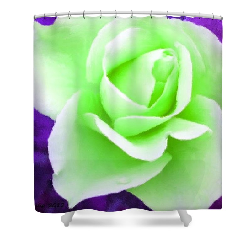 Green Shower Curtain Featuring The Painting Light Rose By Bruce Nutting