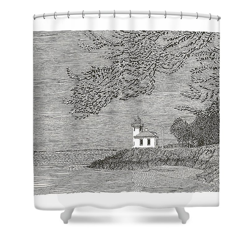 San Juan Islands Lime Point Lighthouse Shower Curtain featuring the drawing Light House On San Juan Island Lime Point Lighthouse by Jack Pumphrey