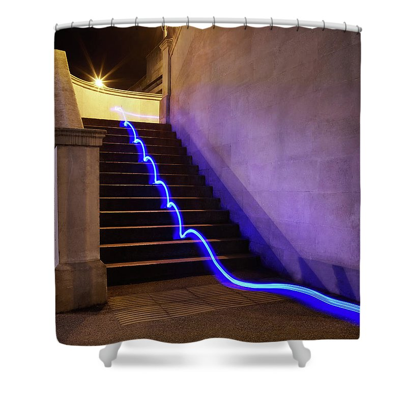 Steps Shower Curtain featuring the photograph Light Trail On Steps by Tim Robberts