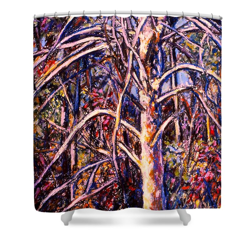 Tree Shower Curtain featuring the painting Lightening Struck Tree by Kendall Kessler