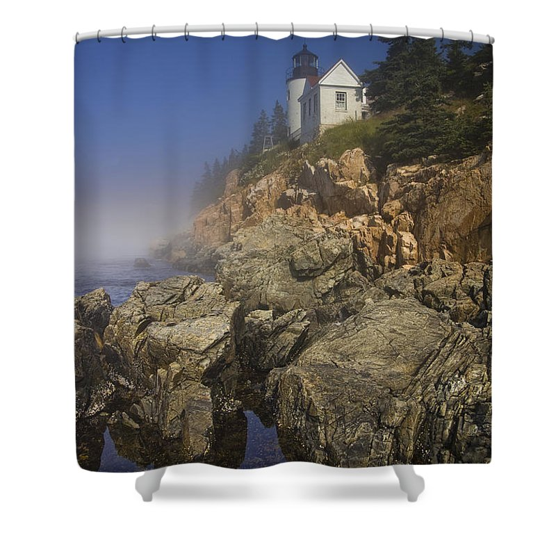 Art Shower Curtain featuring the photograph Lighthouse At Bass Harbor Maine by Randall Nyhof