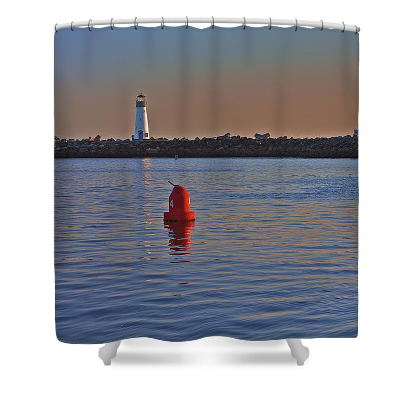 Beach Shower Curtain featuring the photograph Lighthouse At Harbor by SC Heffner