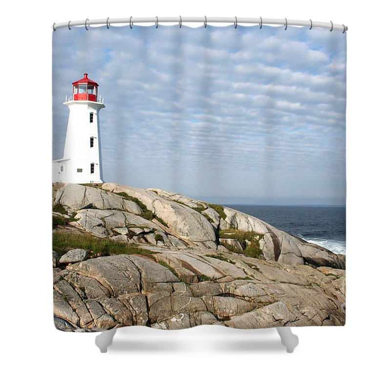 Lighthouse Shower Curtain featuring the photograph Lighthouse At Peggys Point Nova Scotia by Thomas Marchessault
