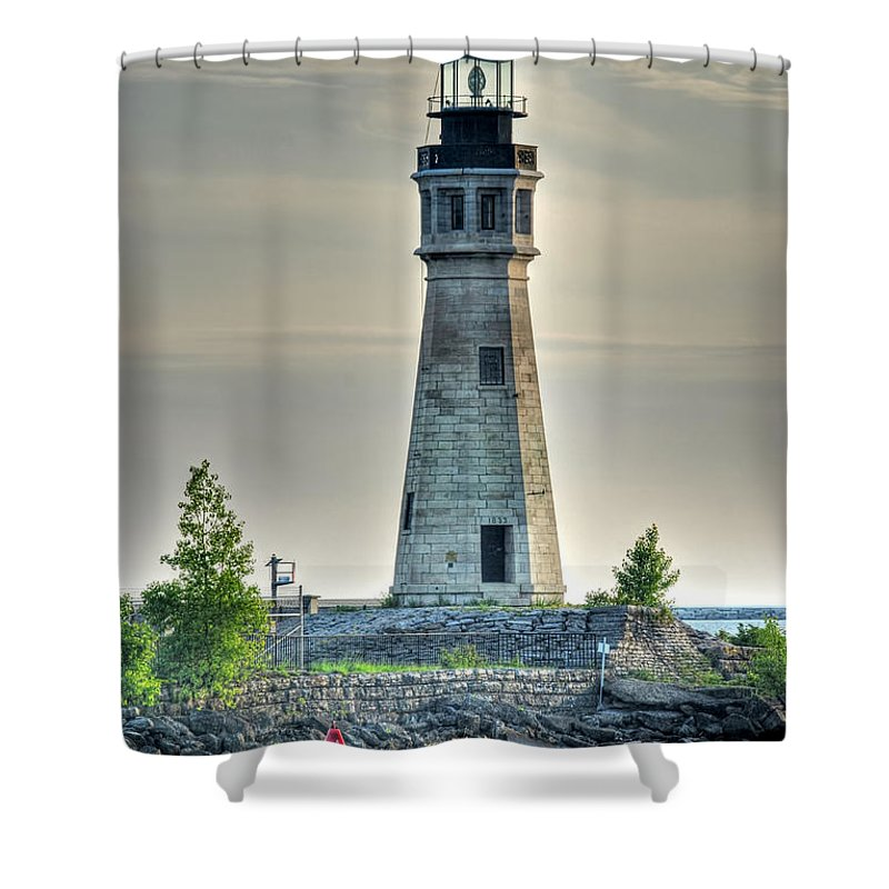 Lighthouse Shower Curtain featuring the photograph Lighthouse Just Before Sunset At Erie Basin Marina by Michael Frank Jr