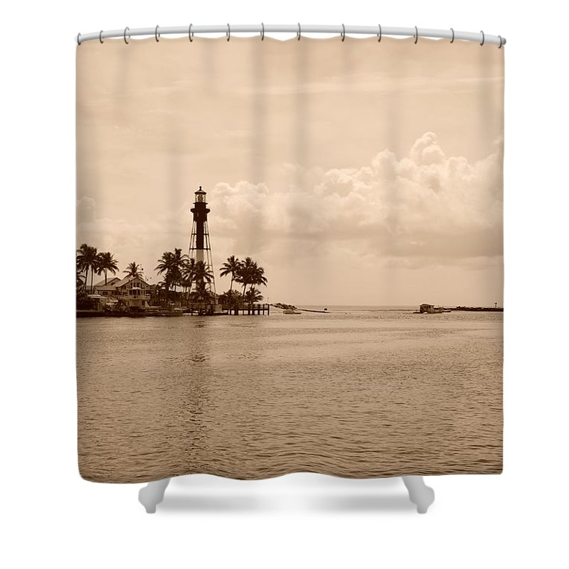 Sepia Shower Curtain featuring the photograph Lighthouse Point by Rob Hans