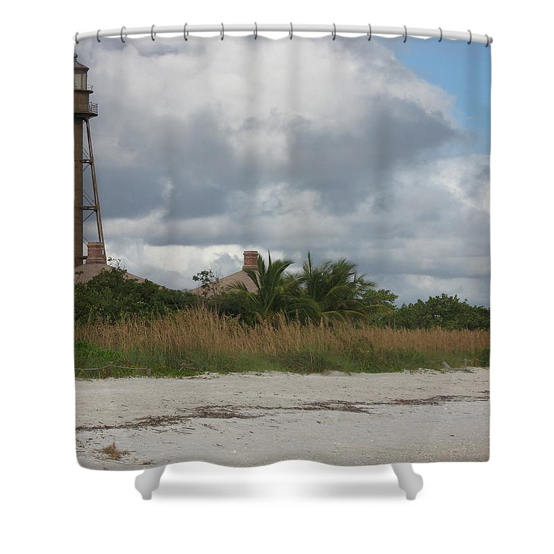Ligthouse Shower Curtain featuring the photograph Sanibel Island Light by Christiane Schulze Art And Photography