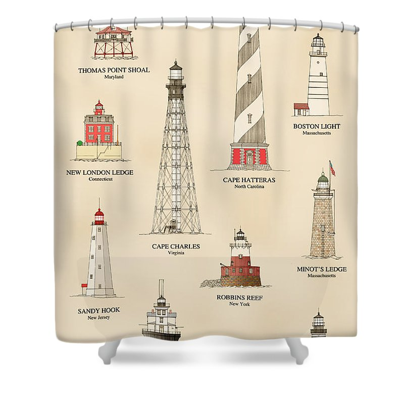 Lighthouse Shower Curtain featuring the drawing Lighthouses Of The East Coast by Jerry McElroy