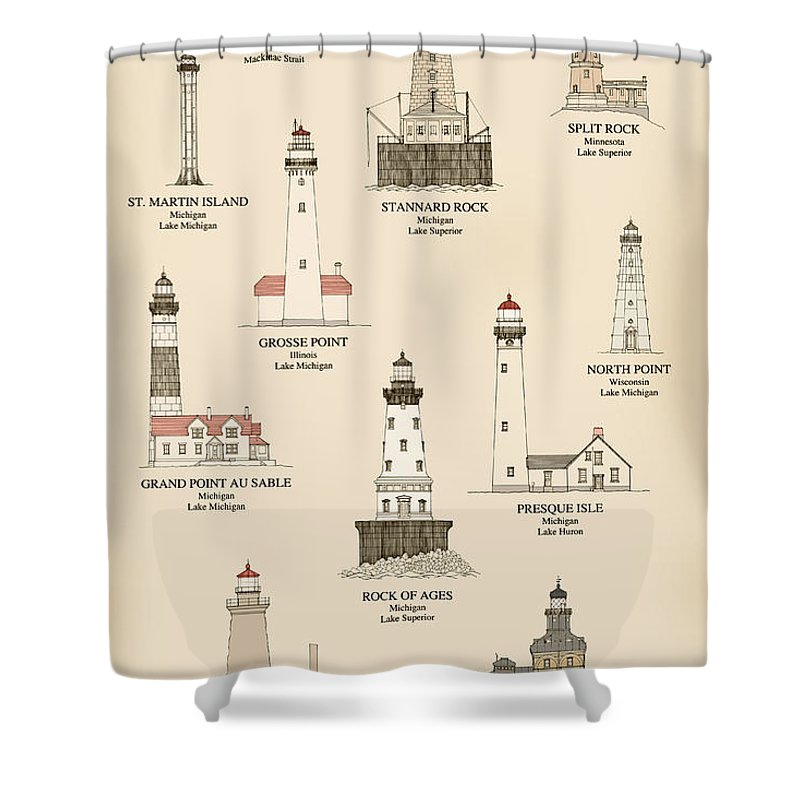 Lighthouse Shower Curtain Featuring The Drawing Lighthouses Of Great Lakes By Jerry McElroy