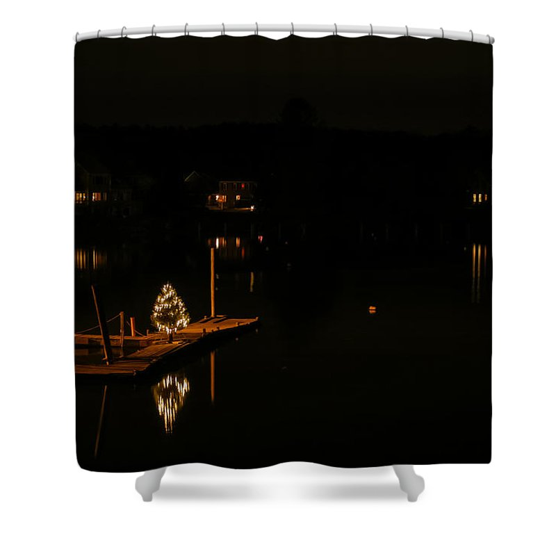 Maine Landscape Photography Shower Curtain featuring the photograph Lighting The Night In York Maine by Jeff Folger