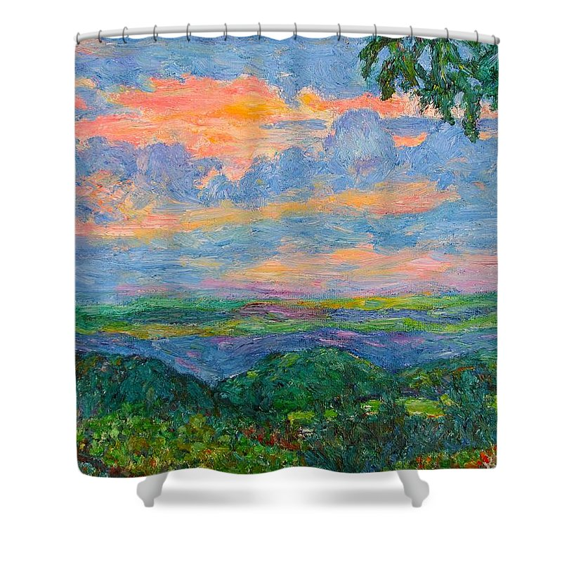 Mountains Shower Curtain featuring the painting Lighting The Ridge by Kendall Kessler