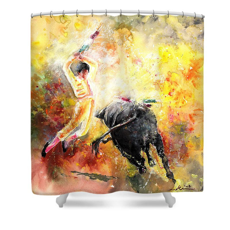 Animals Shower Curtain featuring the painting Lightning Strikes by Miki De Goodaboom