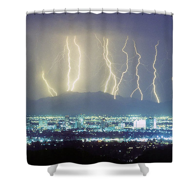 Lightning Shower Curtain featuring the photograph Lightning Striking Over Phoenix Arizona by James BO Insogna